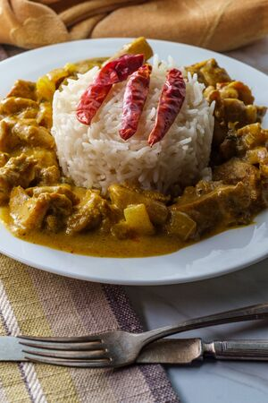 Authentic spicy Indian chicken korma curry with jasmine rice gluten free