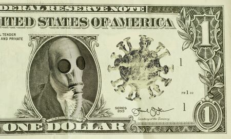 George Washington wears gas-mask as protection against the deadly coronavirus metaphor for failing economy