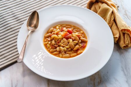 Traditional Italian peasant bean soup pasta e fagioli with gluten-free elbow macaroni noodles