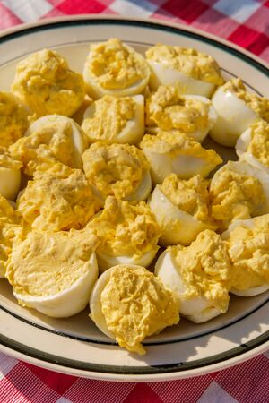 Stuffed Russian deviled eggs on picnic tablecloth Banque d'images