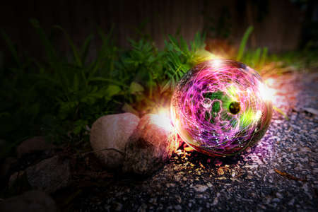 Magic crystal ball atom in nature for summer fantasy imagery Imagens