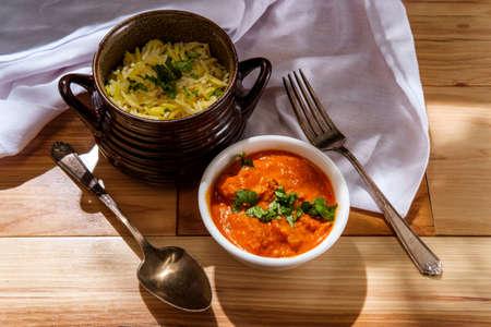 Authentic Indian cuisine chicken tikka masala with coriander garnish Stock Photo