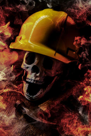 Construction worker wearing hard hat in deadly accidental fire