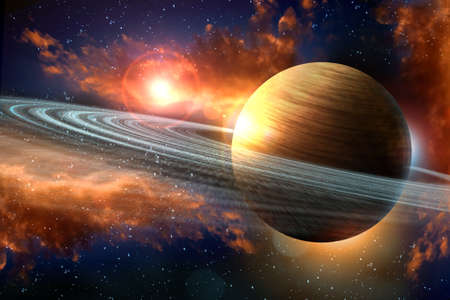 Saturn planet solar system with rings stars and outer space clouds 3D illustration