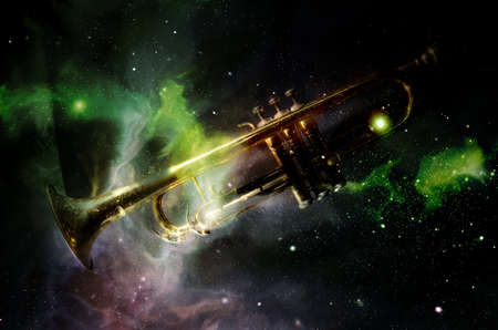 Exciting abstract colors galaxy jazz trumpet brass band concept