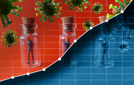 Miniature businessmen practicing social distancing by quarantining in glass bottles to slow the spread of the deadly coronavirus metaphor with graph depicting rising number of new cases Banque d'images