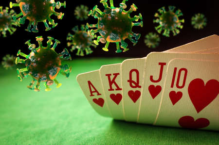 Poker winning hand royal flush with coronavirus cells as symbolic metaphor for a cure or vaccine for the virus Banque d'images