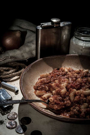 Beef and macaroni goulash of The Great Depression era eaten by poverty stricken Americans