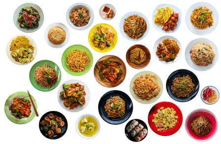 Flat lay collage of many popular chinese food dinners isolated on white background