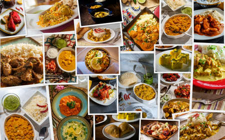 Traditional Indian foods arranged as collage of the cuisine