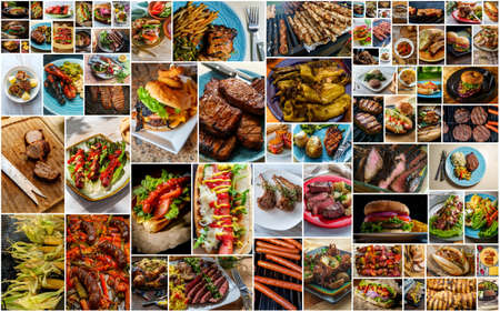Collage of popular American BBQ and grilled food including burgers hot dogs sausage steak and even seafood Foto de archivo