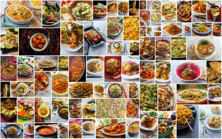 Huge world cuisine pasta and noodle collage background Foto de archivo