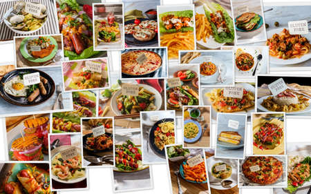 World cuisine gluten-free diet food collage for people with celiac disease or non-celiac gluten sensitivity