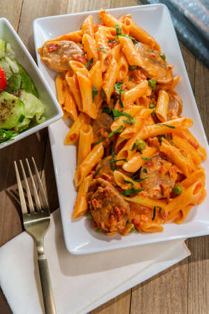 Italian penne alla vodka pink cream sauce with sliced spicy sausage and side salad Reklamní fotografie