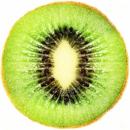 Kiwi fruit. Close up. Isolated over white background 