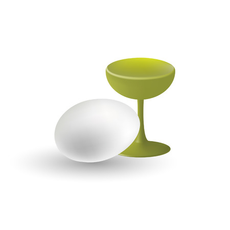 vernal: Illustration,vector,easter egg,cup,isolated on white backgrqund.