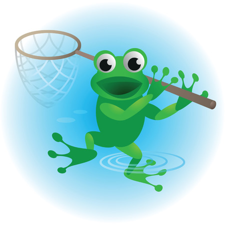 funn: Color image of a cheerful frog. Illustration