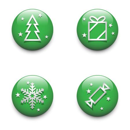 glossy buttons: Set di icone di Natale e lucido pulsanti.