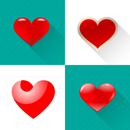 Image hearts of different shapes in the set.