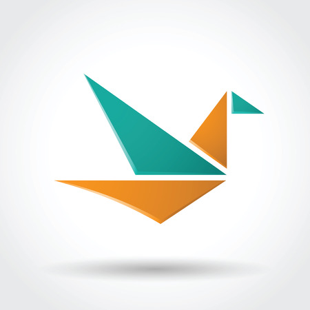 soar: Paper bird icon.  Vector version of the file contains transparent objects. You can fully edit.