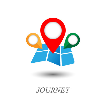 coordinate: Map and pointer icon. Journey logo. Contains transparent objects.