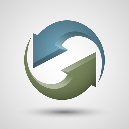 two objects: Rotation two arrows icon. Contains transparent objects. Illustration