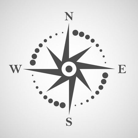 Compass icon. Navigation and travel logo design element. No transparent objects.