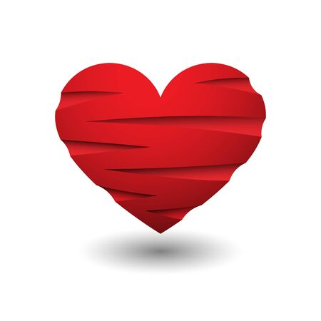 Red heart scratches icon.
