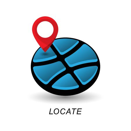 Location pointer and globe.  design element.