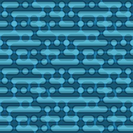Blue circles and ovals geometric seamless pattern. 向量圖像