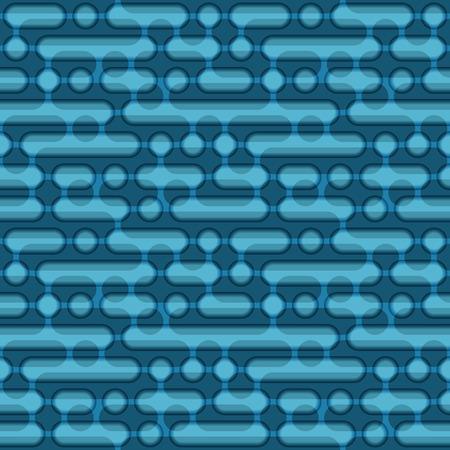 Blue circles and ovals geometric seamless pattern. Illustration