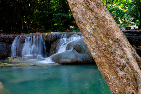 erawan: Waterfall erawan in kanjanaburi in Thailand