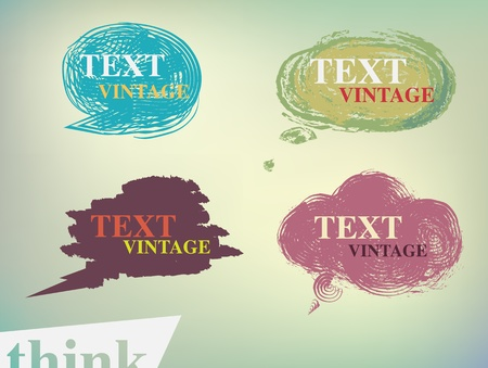 speech and thought bubbles vintage text Vector