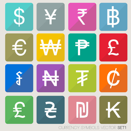 currency symbols: Currency icons set  currency symbols vector  world money