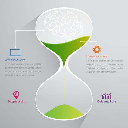 brain and sand clock info graphics