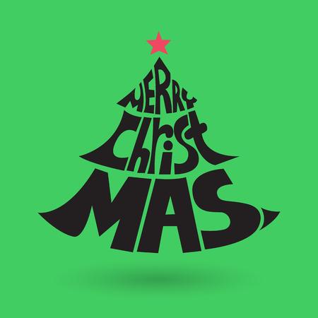 Merry Christmas lettering, vector illustration Illustration