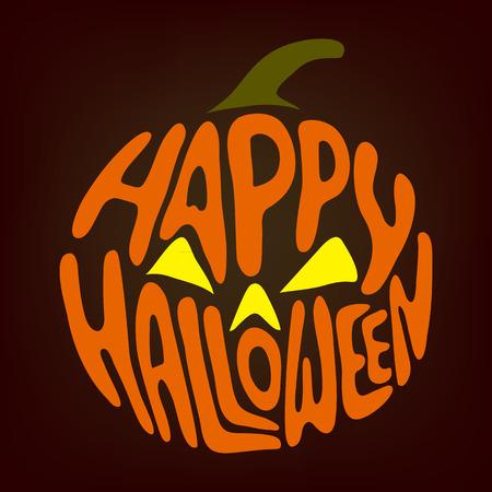 Halloween symbols pumpkin, lettering Vector