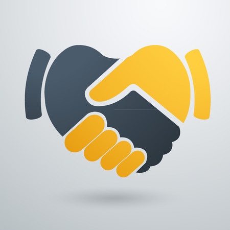 friend: Handshake abstract logo vector design template.