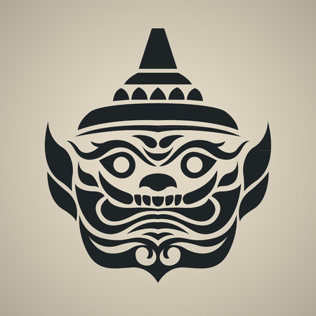 thai style: Vector face of giant thailand, Vintage traditional Thai style