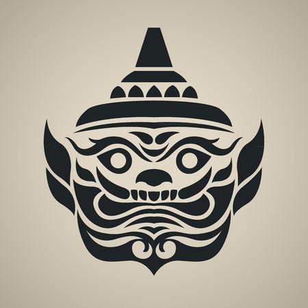 tempels: Vector gezicht van reusachtige thailand, Vintage traditionele Thaise stijl