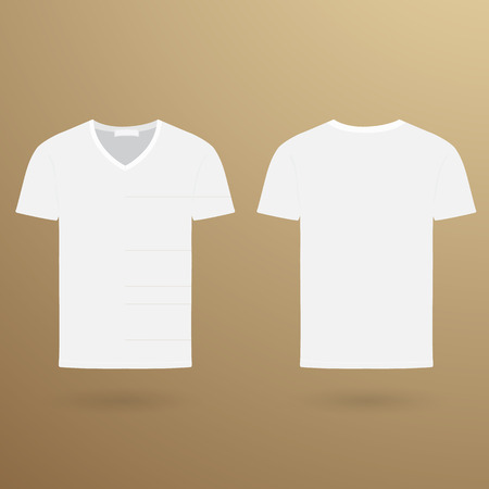 v neck: Blank v t-shirt template. Front and back