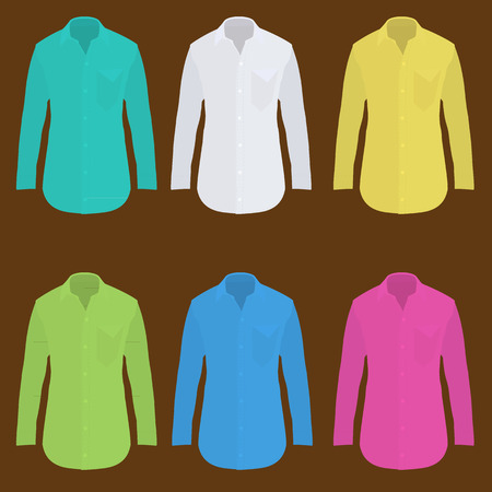 button down shirt: shirt long sleeve design template Illustration
