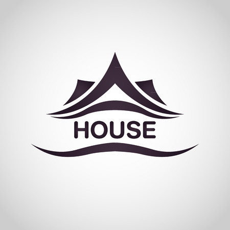real estate sign: House abstract real estate logo design template Illustration