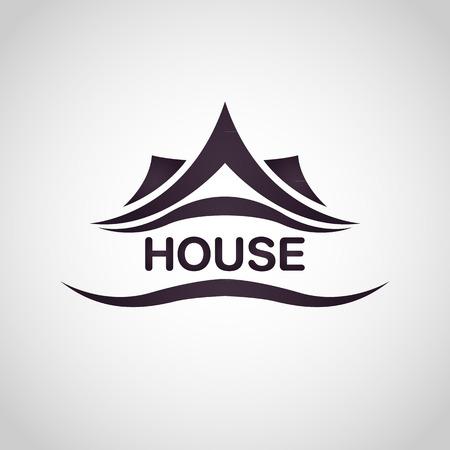 Maison abstraite immobilier logo modèle de conception Banque d'images - 37095017