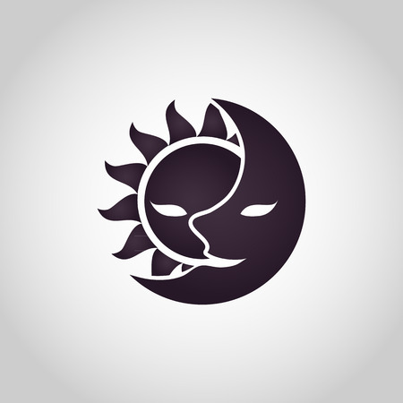 Sun and Moon icon. Abstract vector illustration Vectores