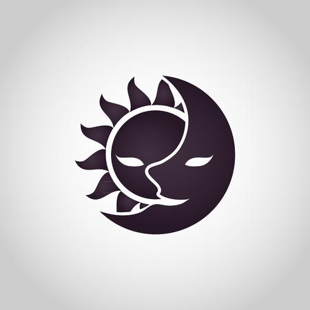 Sun and Moon icon. Abstract vector illustration Çizim