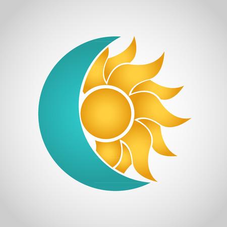 Sun and Moon logo. Abstract vector illustration Vettoriali