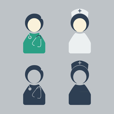 doctor and nurse icon vector Illustration