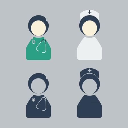 doctor and nurse icon vector Çizim