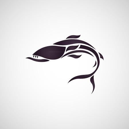 logo poisson: Baracuda logo de poissons vecteur